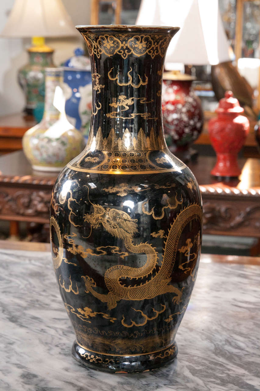 Late Qing Dynasty Chinese Mirror Black Vase For Sale At