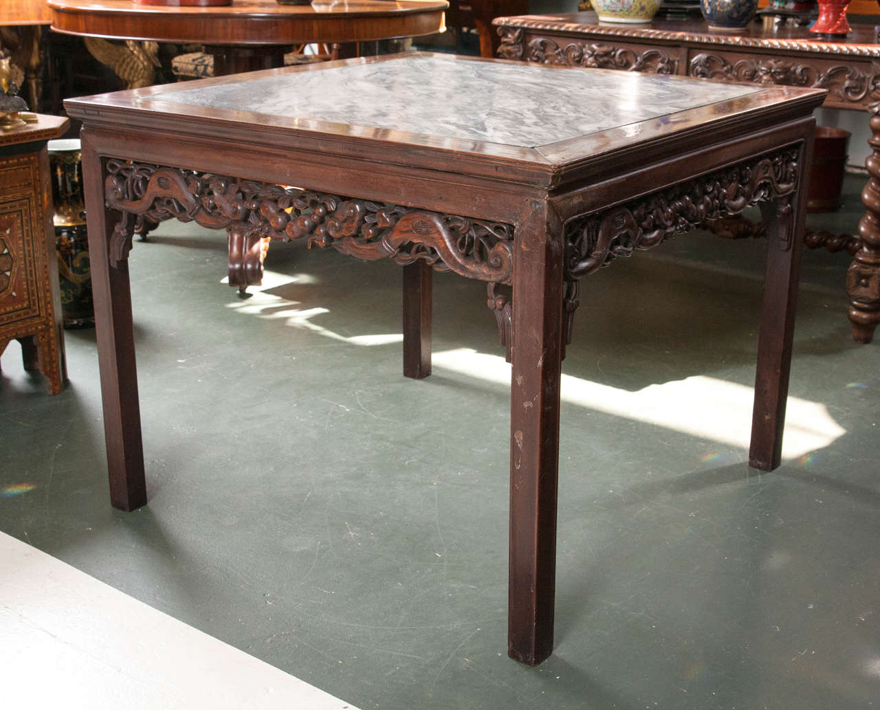 Antique Chinese rosewood table with marble top Intricately with a carved  apron. - Antique Chinese Rosewood Marble-Top Table At 1stdibs