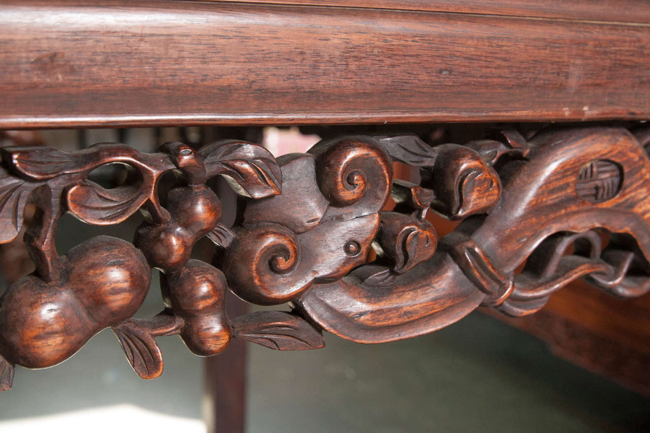 Antique Chinese Rosewood Marble-Top Table For Sale 4 - Antique Chinese Rosewood Marble-Top Table At 1stdibs