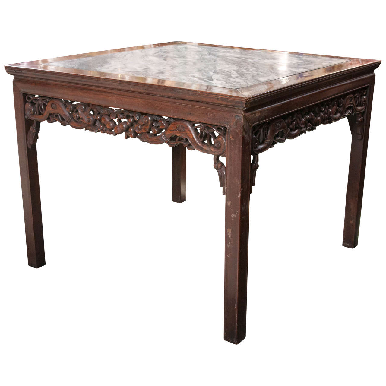 Antique Chinese Rosewood Marble Top Table 1