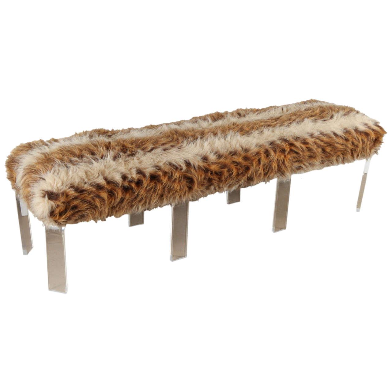 1970s faux fur lucite bench