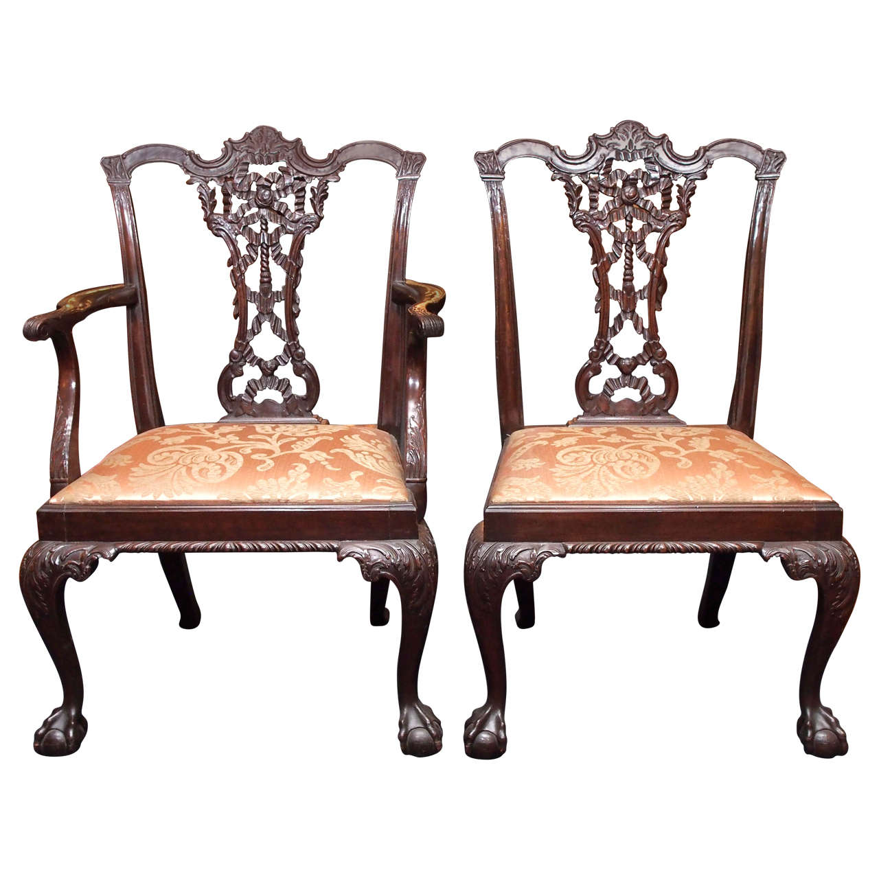 Set of Eight Antique Mahogany Fine 19th Century Ribbon Back Dining Chairs  For Sale - Set Of Eight Antique Mahogany Fine 19th Century Ribbon Back Dining