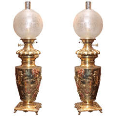 Pair of Antique French Mixed Metal Brass Chinoiserie Oil Lamps