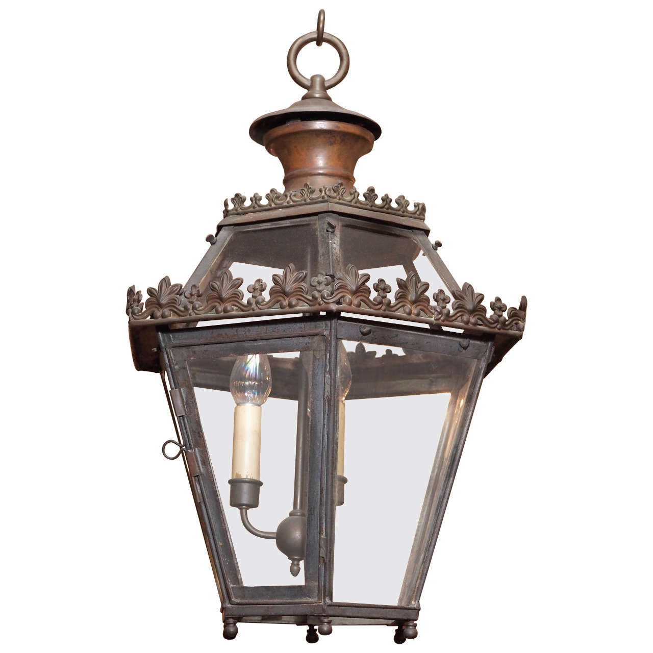 Antique French Iron Lantern For Sale at 1stdibs