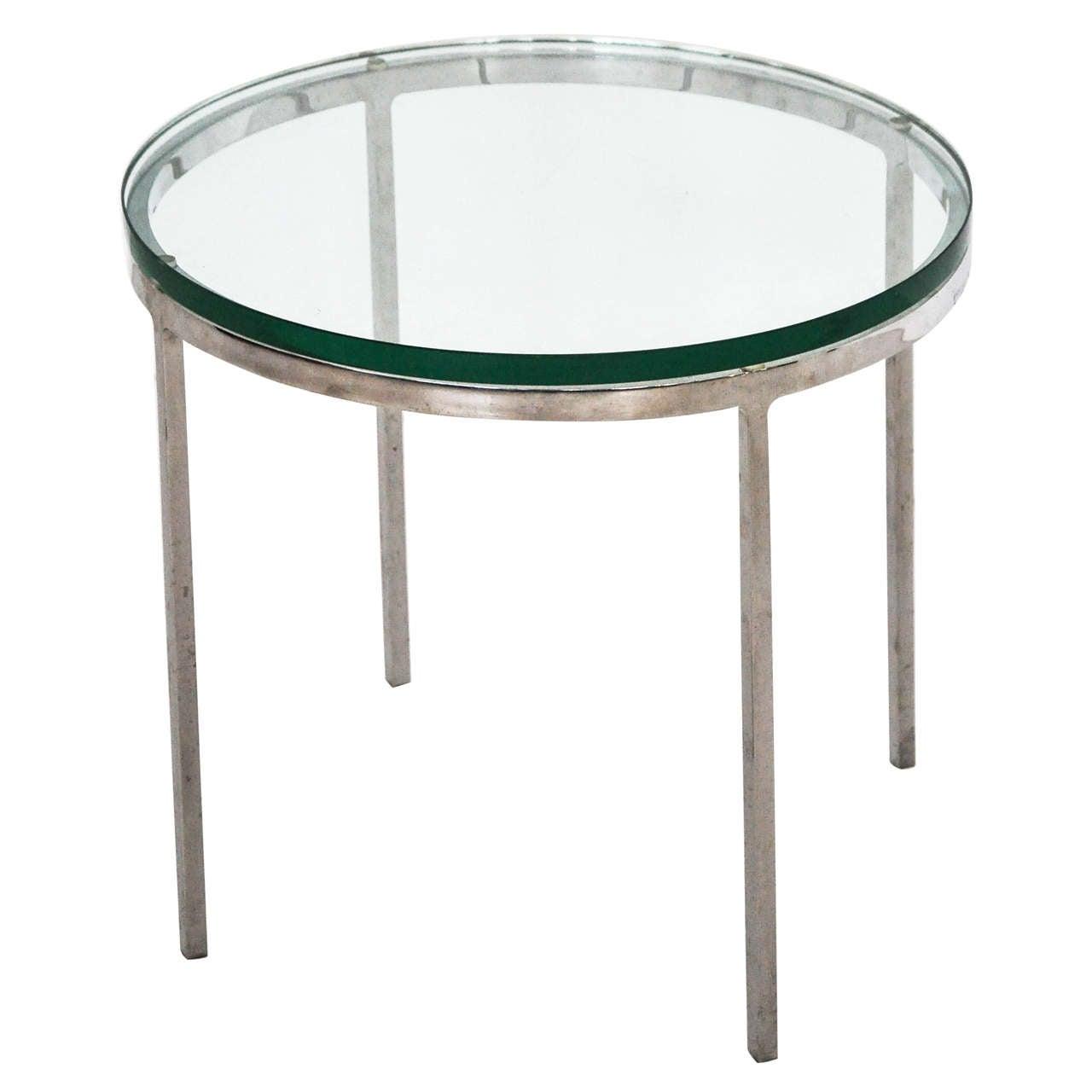 60 Mid Century Modern Vintage Half Moon Coffee Table: Nicos Zographos Chrome And Glass Side Table At 1stdibs