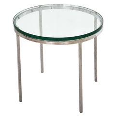 Nicos Zographos Chrome and Glass Side Table