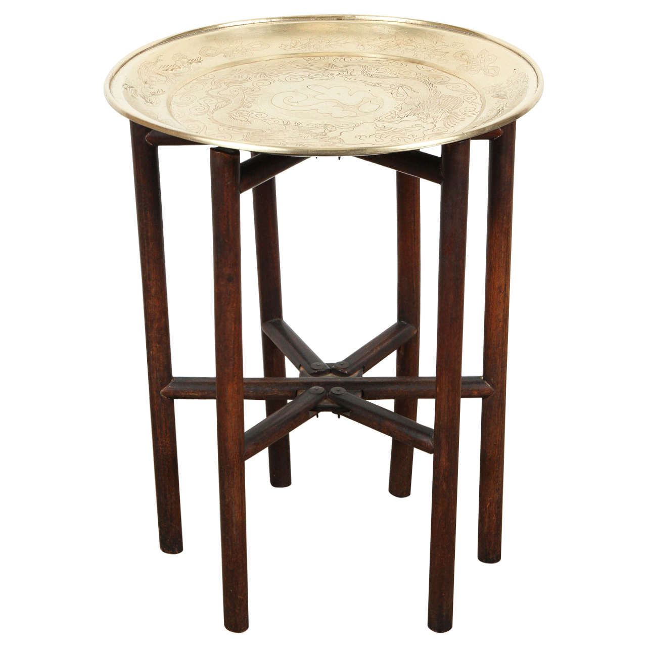 Brass Tray Side Table on Folding Stand