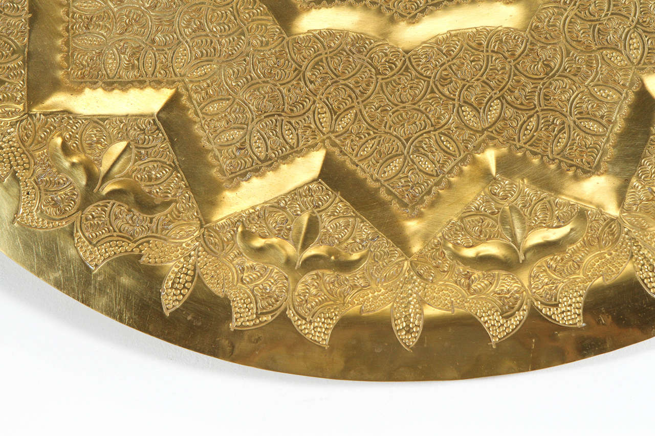 Moroccan Moorish Brass Tray Wall Hanging For Sale at 1stdibs