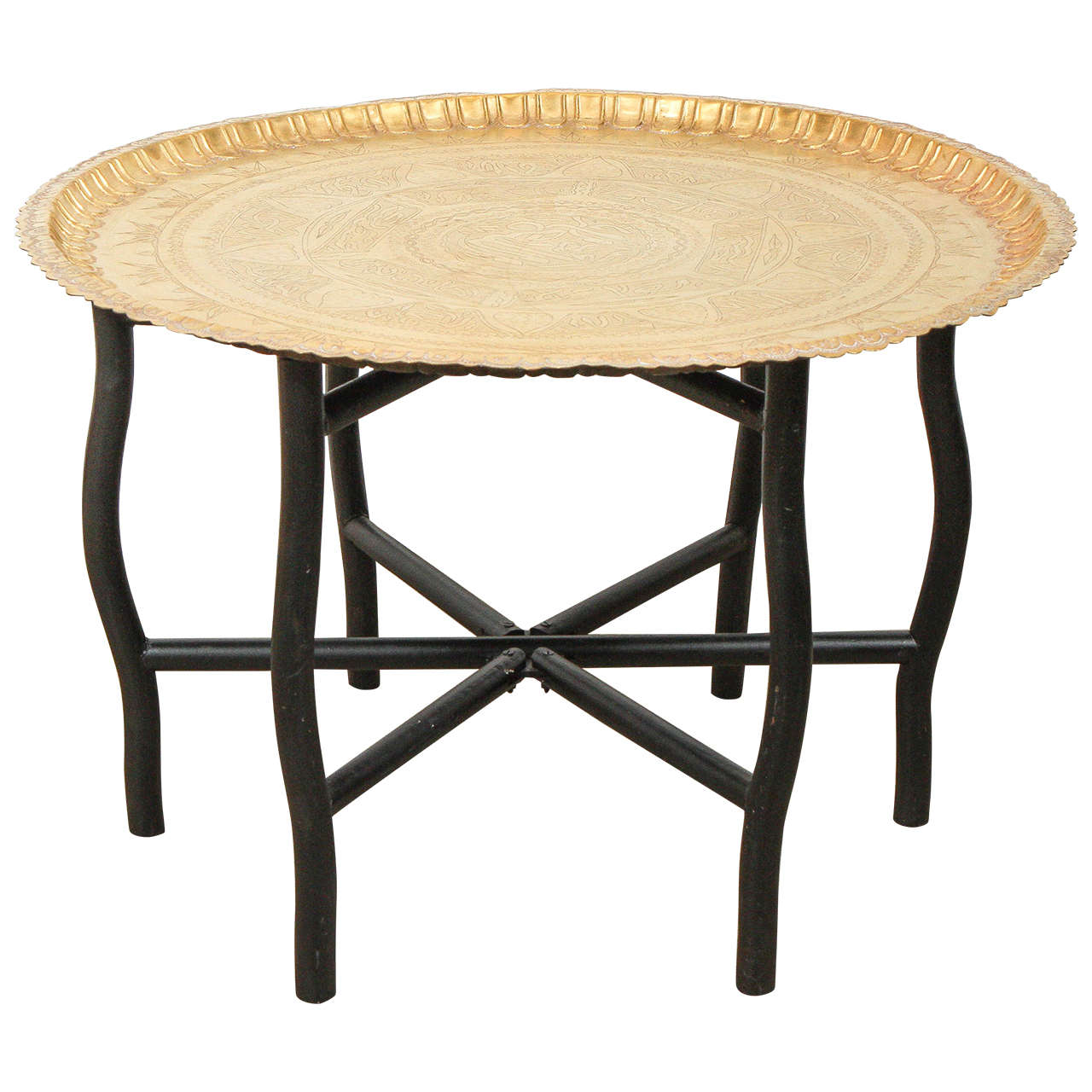moroccan brass tray table on folding stand at 1stdibs. Black Bedroom Furniture Sets. Home Design Ideas