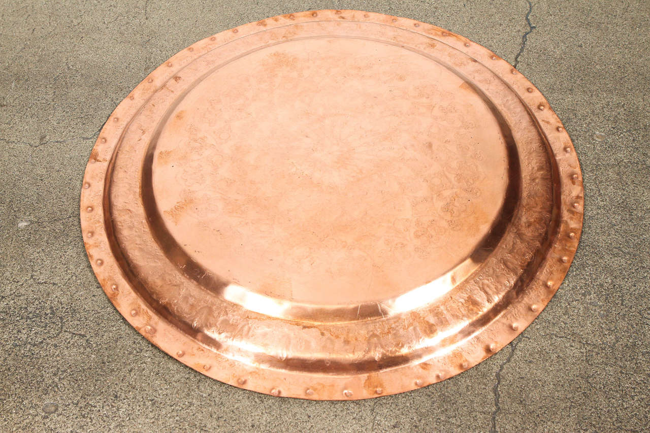 Large Antique Moroccan Hammered Copper Tray Platter For Sale 3