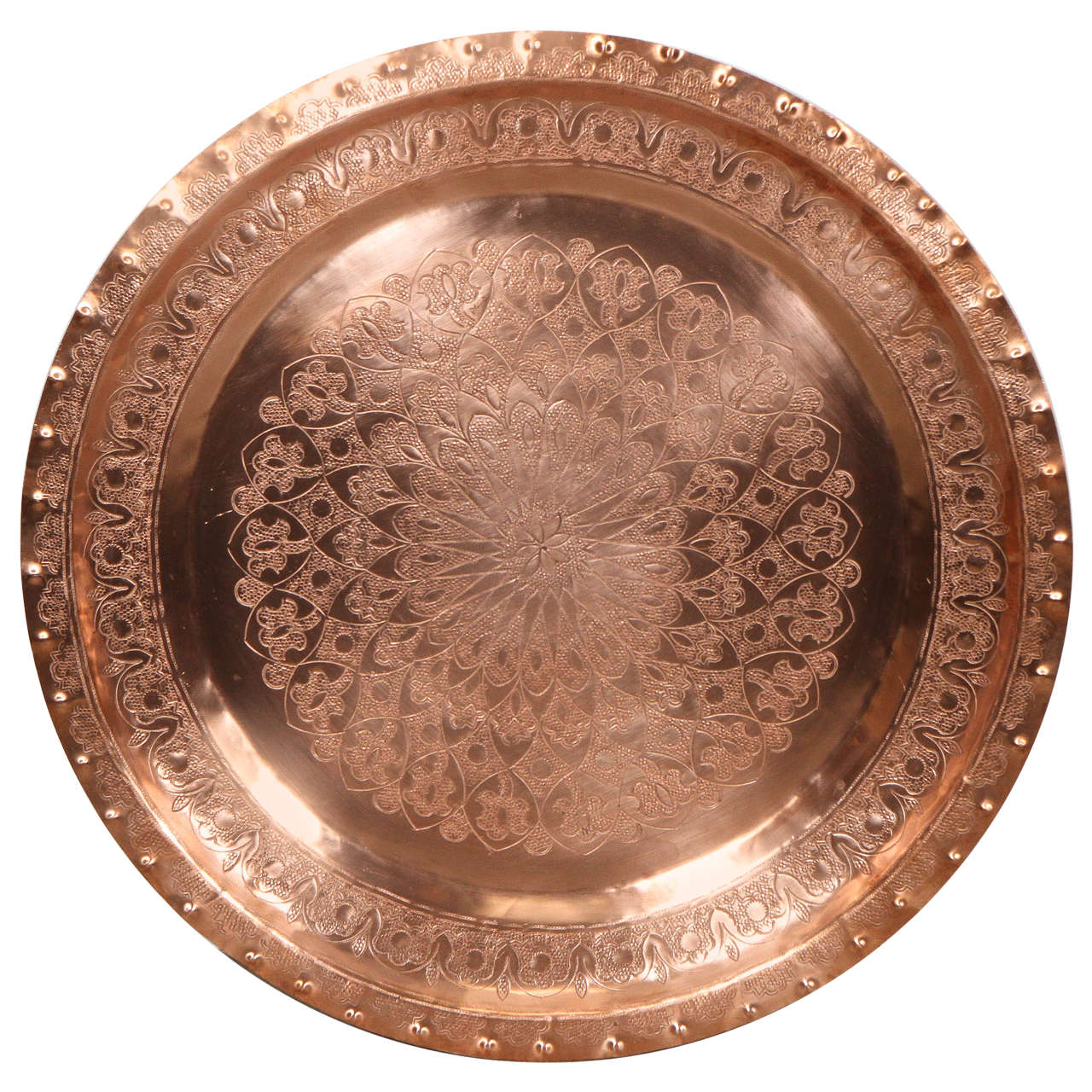 Large Antique Moroccan Hammered Copper Tray Platter For Sale