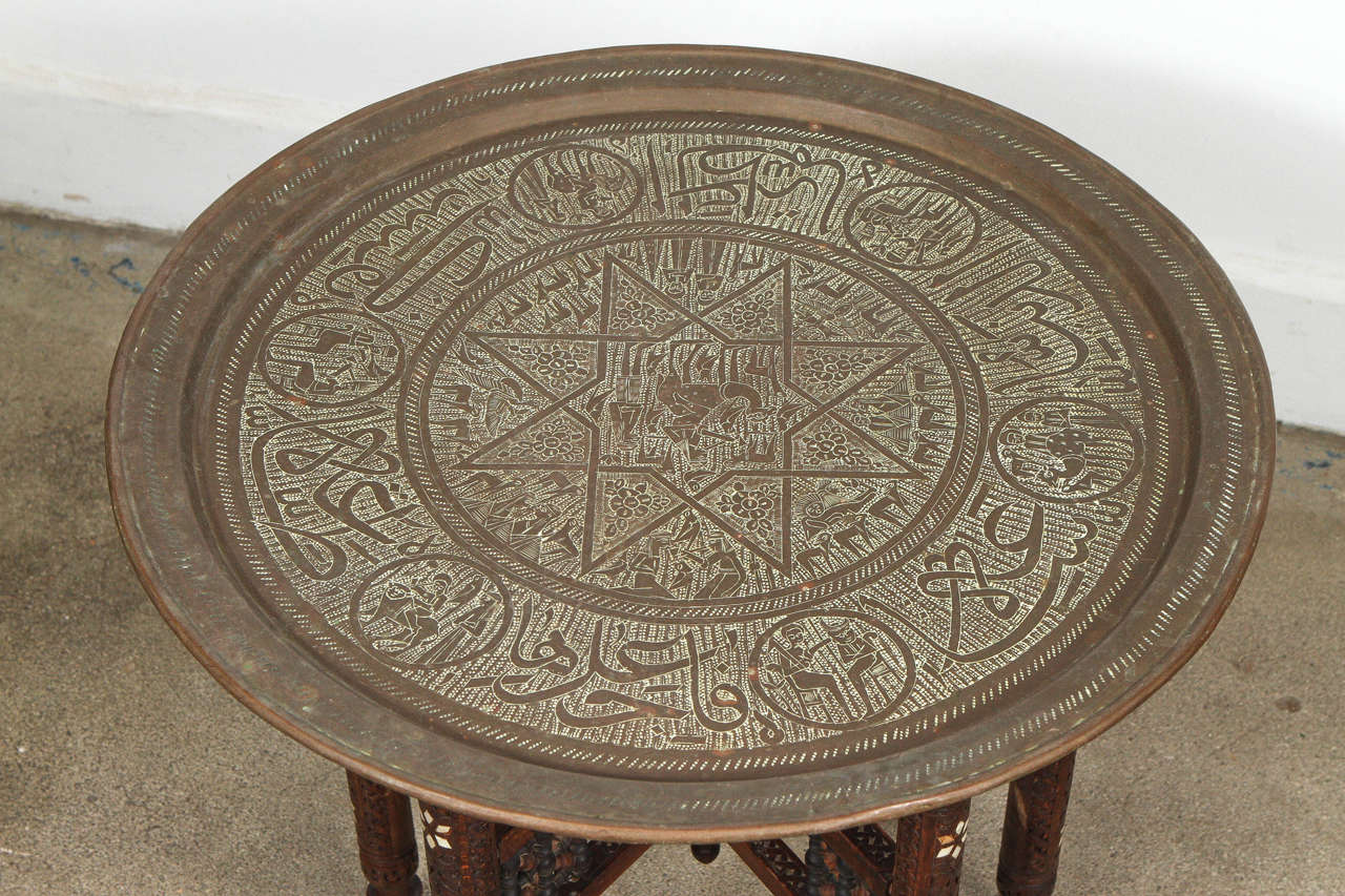 Moorish Antique Middle Eastern Brass Tray Table For