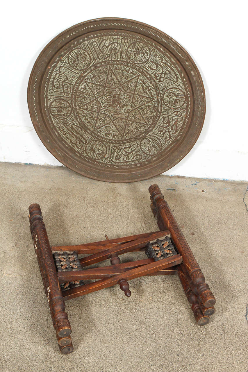 Antique Middle Eastern Brass Tray Table For 2
