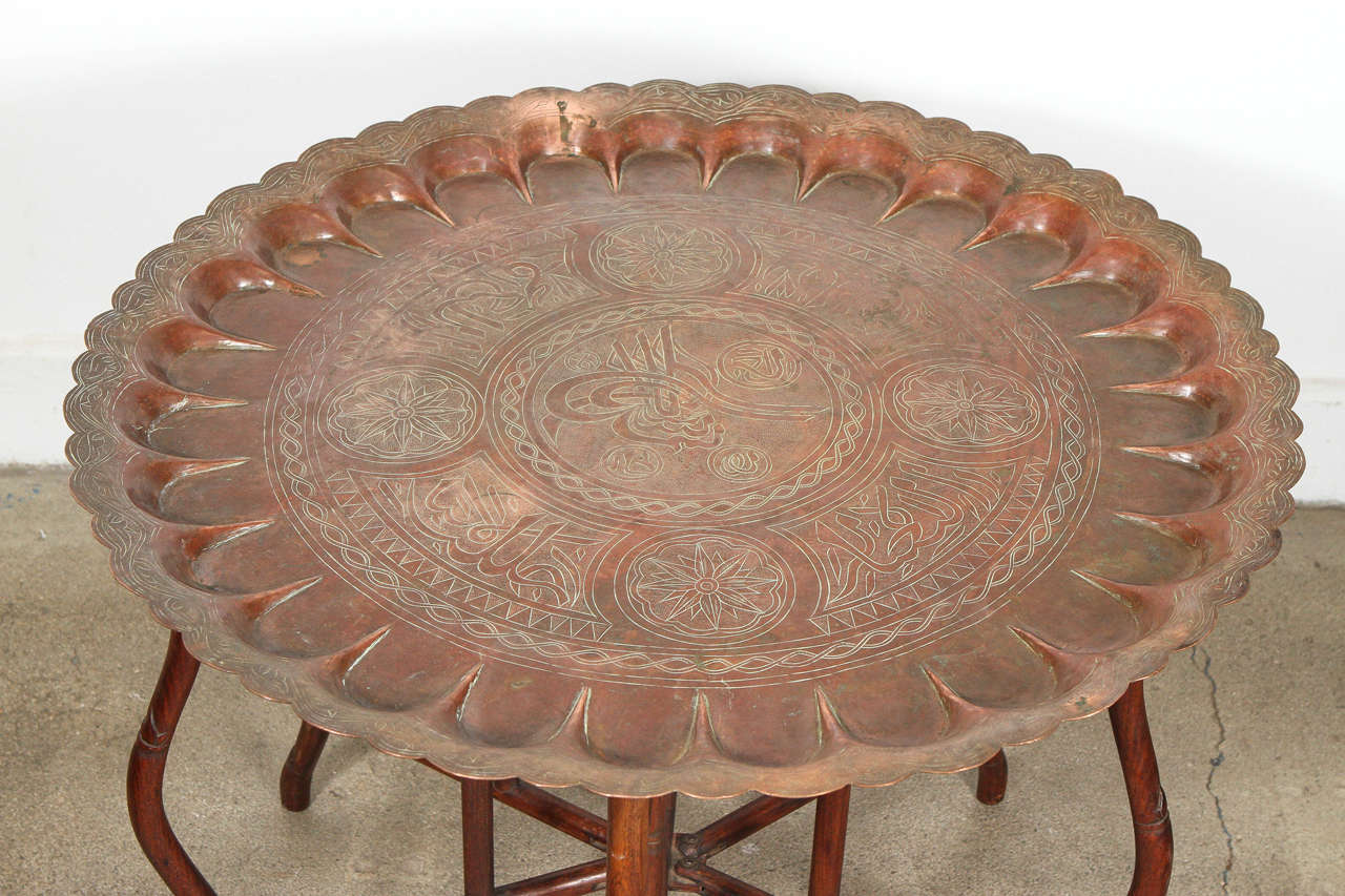 20th Century Large Turkish Copper Tray Table on Bamboo Folding Base