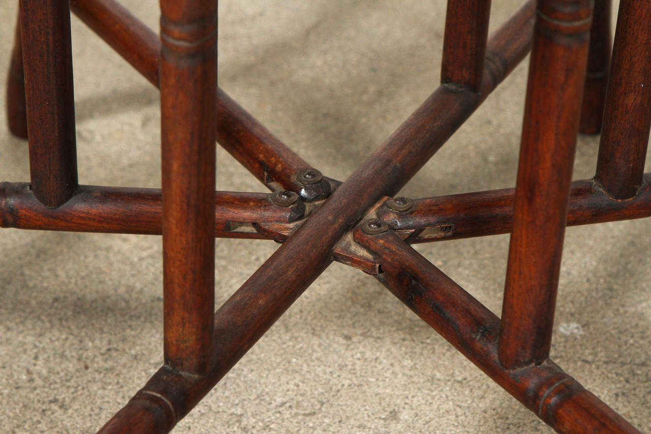 Large Turkish Copper Tray Table on Bamboo Folding Base 2