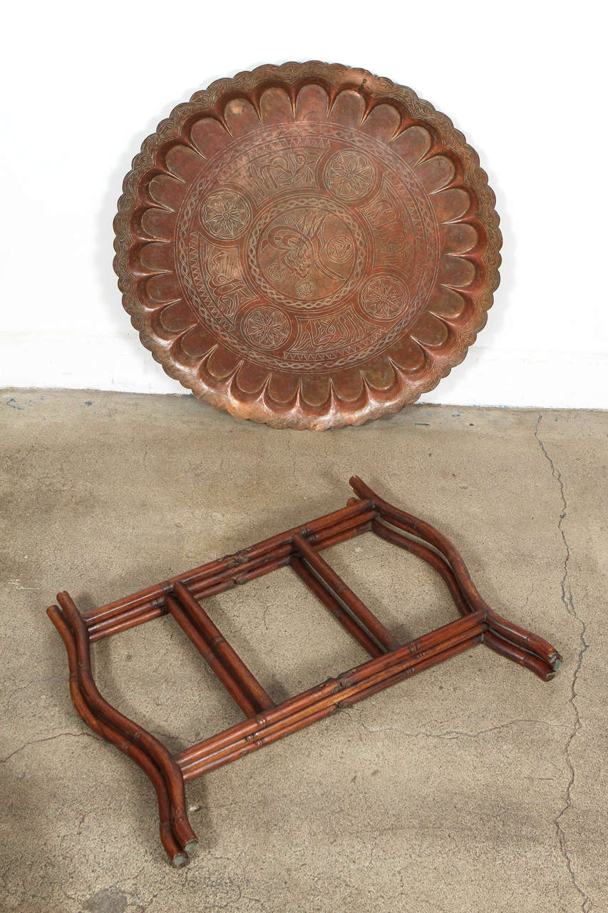 Large Turkish Copper Tray Table on Bamboo Folding Base 3