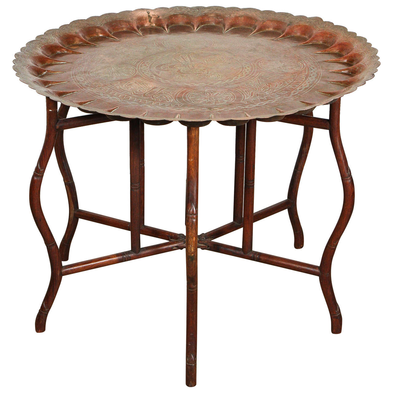 Large Turkish Copper Tray Table On Bamboo Folding Base At