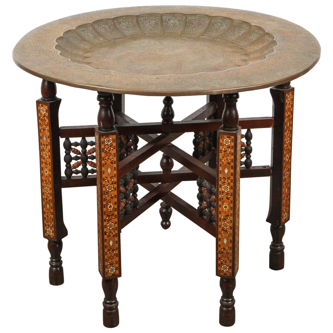 Moorish Brass Tray Table On Inlaid Folding Stand At 1stdibs