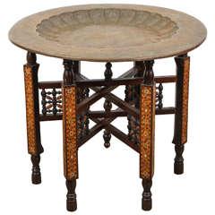 Moorish Brass Tray Table on Inlaid Folding Stand