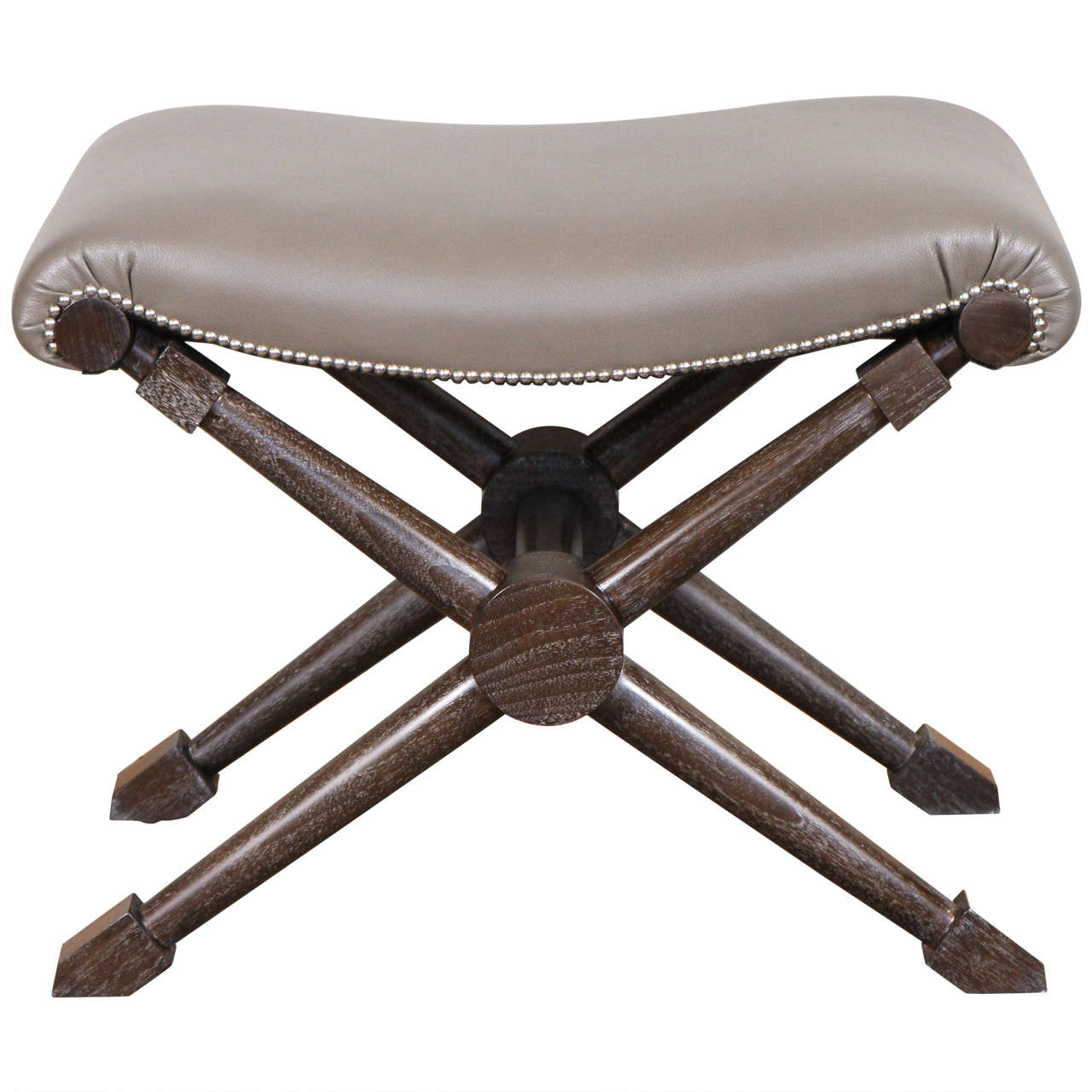 X Base Bench In Brown Gray Leather At 1stdibs
