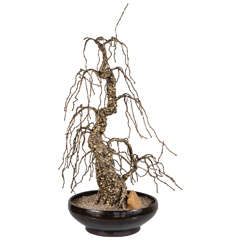 Tall Bronze Bonsai Tree Sculpture