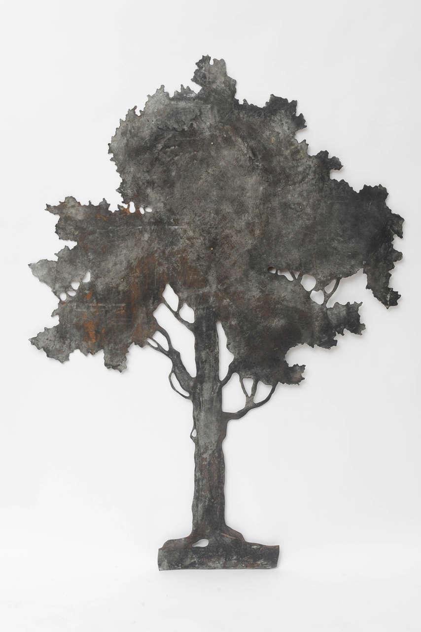 Large Folk Art Hand Cut Sheet Metal Tree At 1stdibs