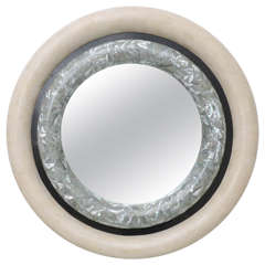 Maitland Smith Travertine and Mother-of-Pearl Mirror