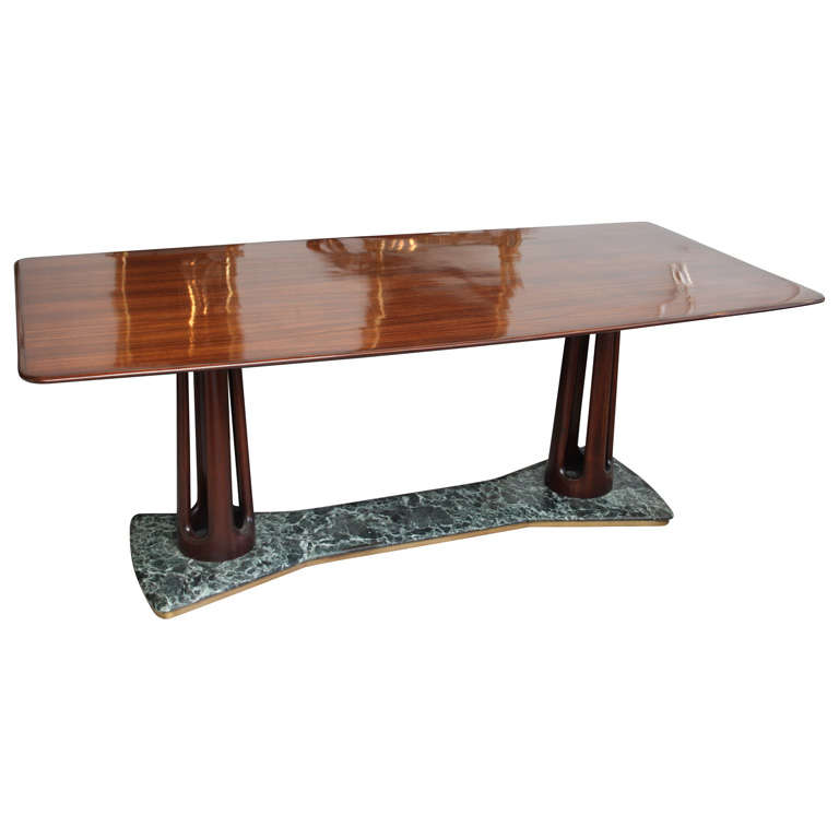 Guglielmo Ulrich Rosewood and Serpentine Marble Dining Table