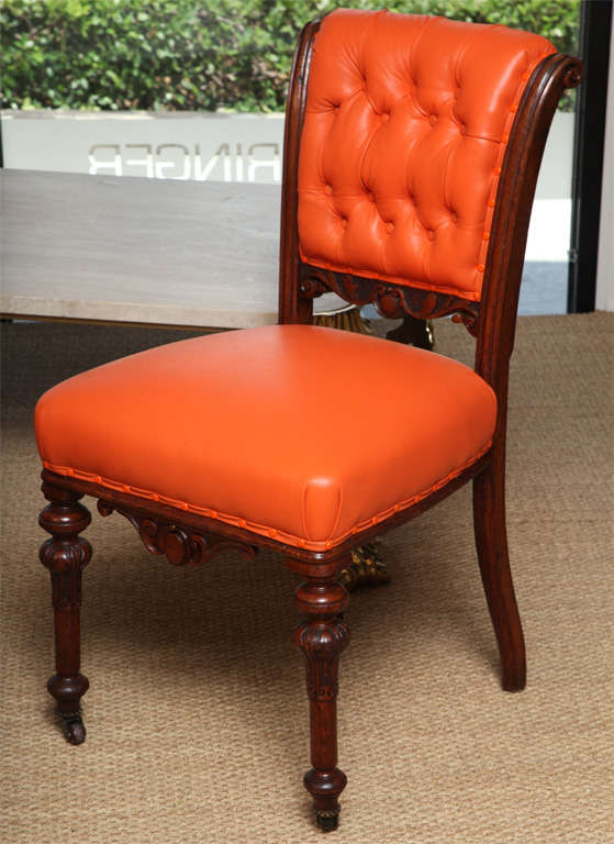 Merveilleux A Pair Of Mahogany Regency Side Chairs On Casters