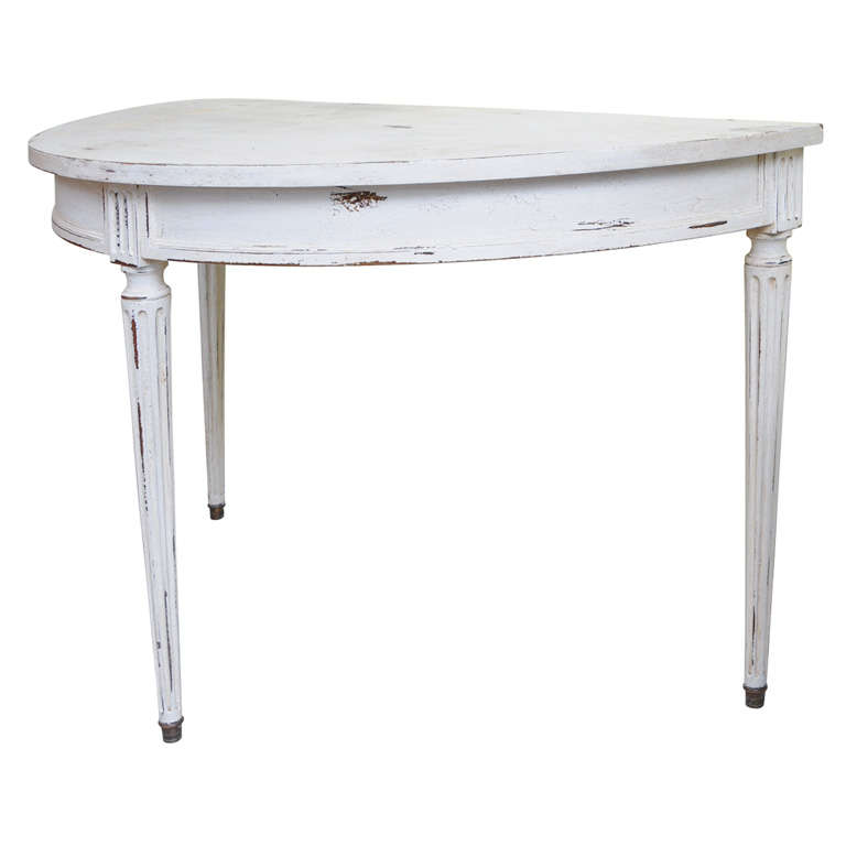 French Half Round Console Table For