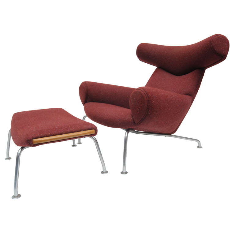 Hans Wegner Ox Chair And Ottoman For Sale
