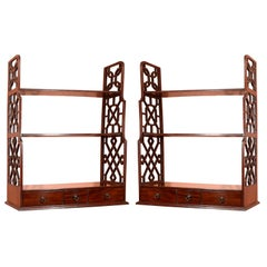 Pair of George III Mahogany Hanging Shelves