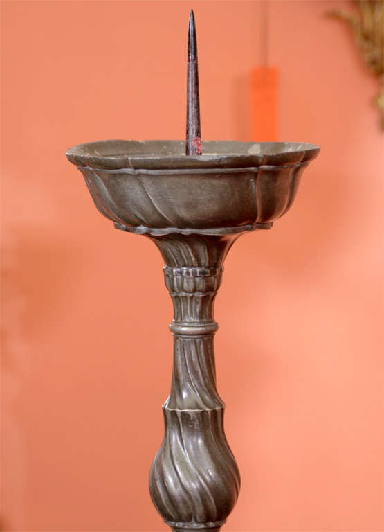 Pair of European Pewter Pricket Sticks In Good Condition For Sale In New York, NY