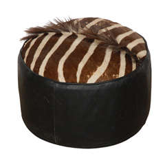 Zebra leather Pouf