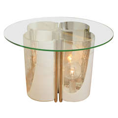 Interior lit clear and lattimo glass occasional table by Vistosi
