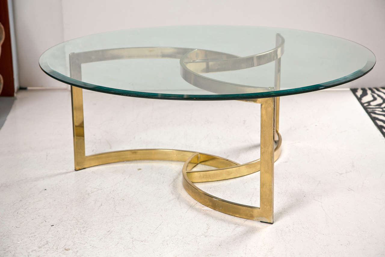 Mid Century Brass Swirl Base With Round Glass Top Coffee Table At 1stdibs
