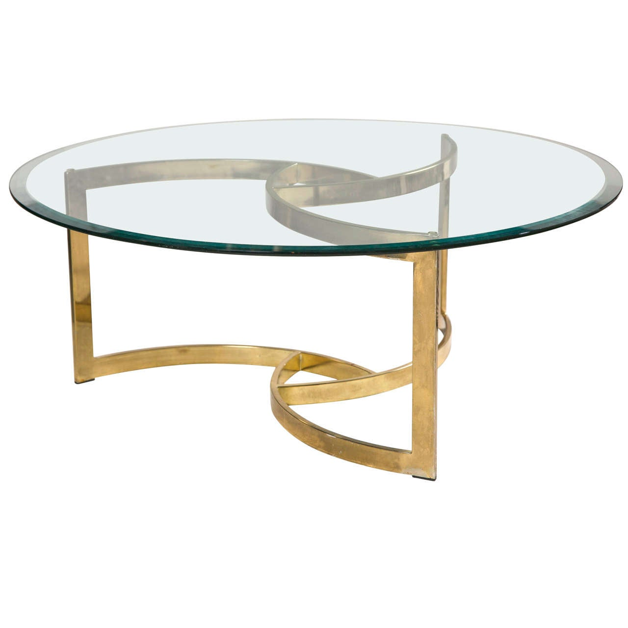 Superior Mid Century Brass Swirl Base With Round Glass Top Coffee Table For Sale