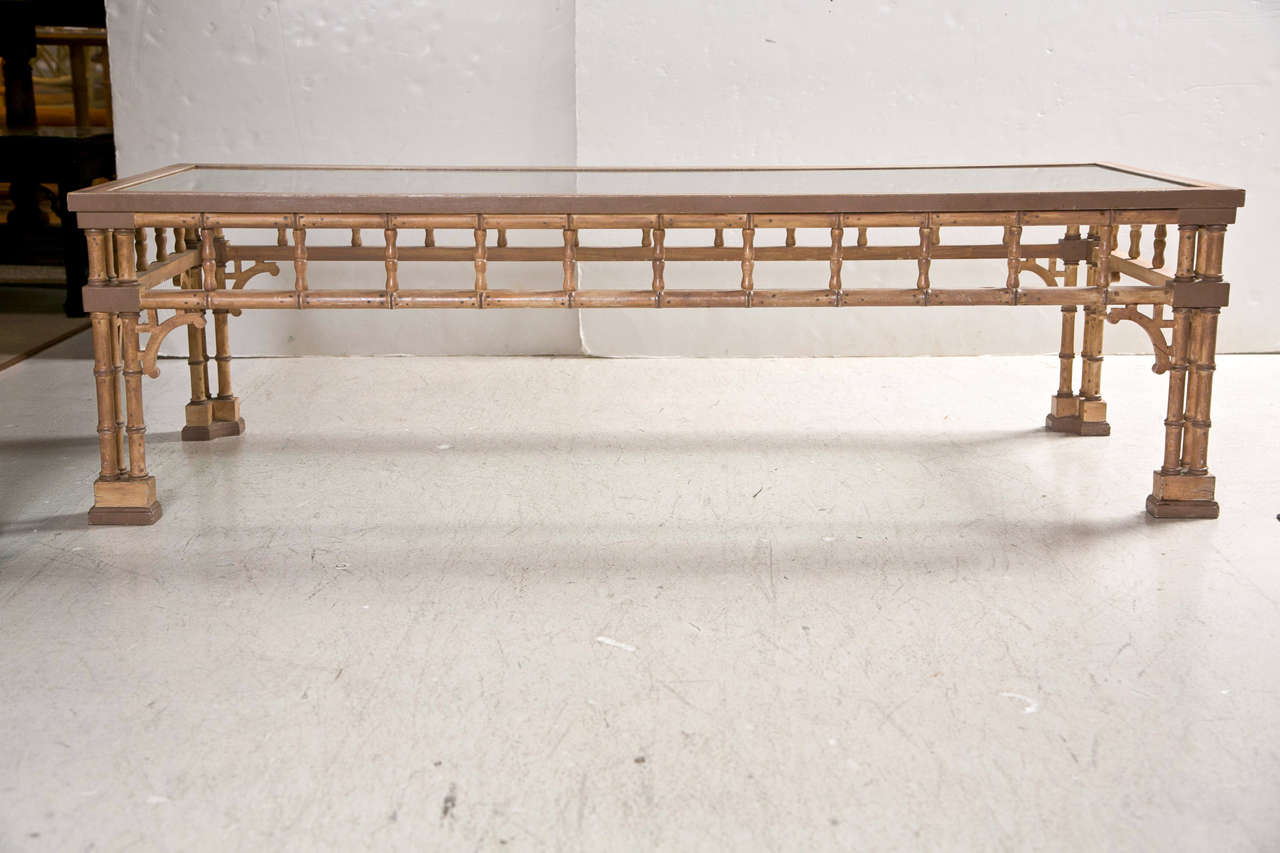 Faux Bamboo Coffee Table With Glass Top At 1stdibs