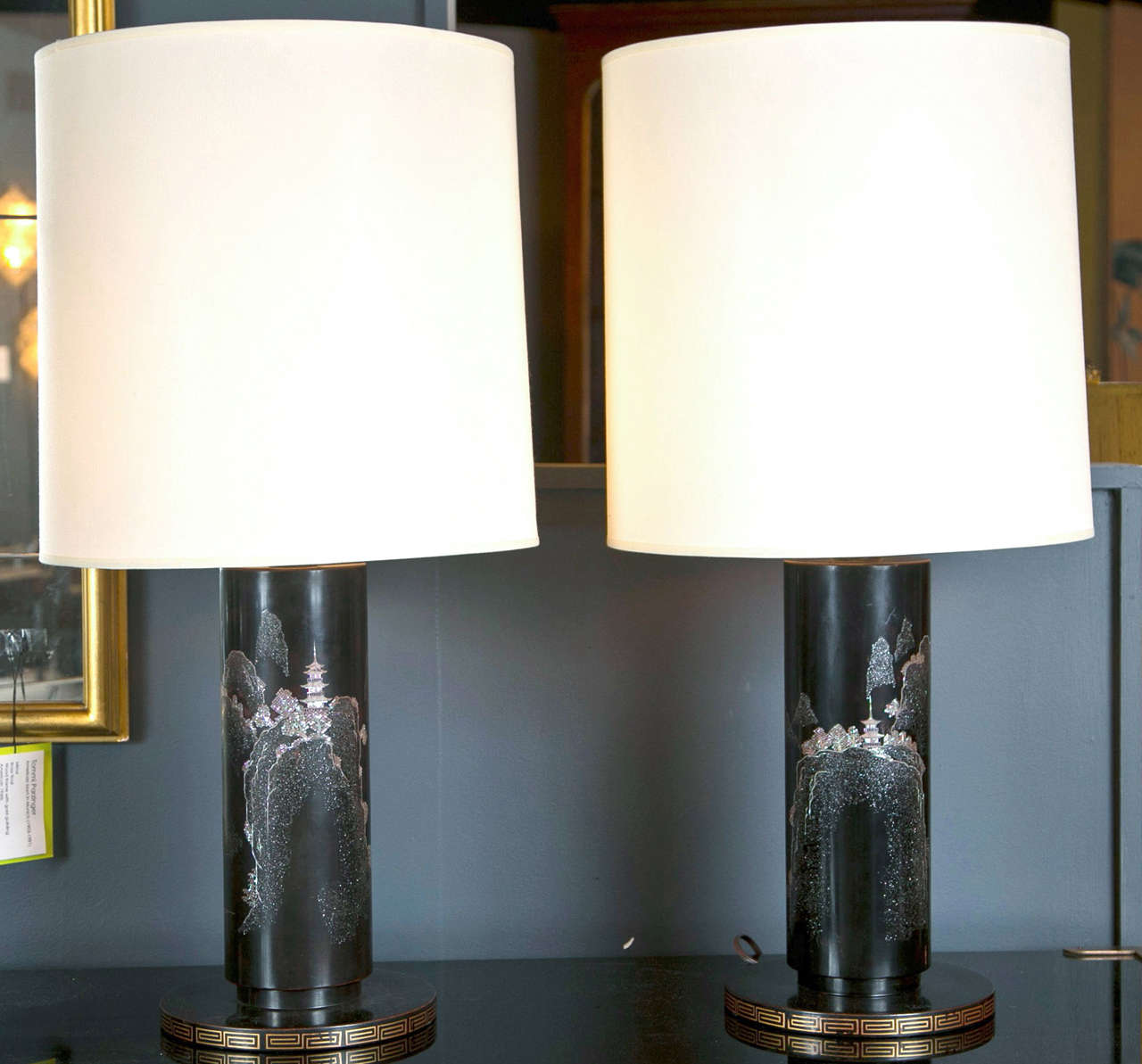 mother of pearl inlay scenic japanese lamps at 1stdibs. Black Bedroom Furniture Sets. Home Design Ideas