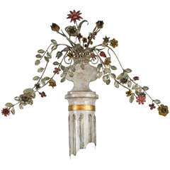 Italian Painted Tole Flower Sconce