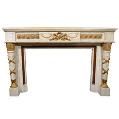 Palatial Antique French Louis XVI Style White Marble and Gilt Bronze Mantle