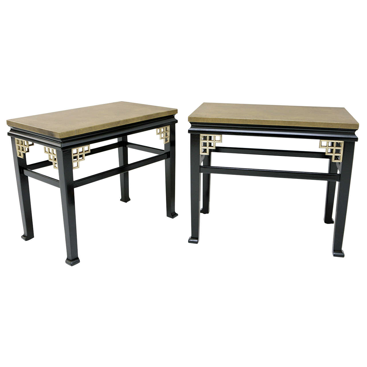 Pair of Custom Leather Topped Side Tables