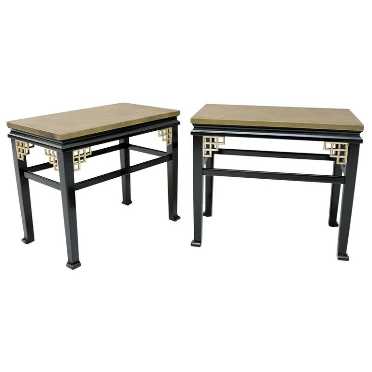 Pair of Custom Leather Topped Side Tables For Sale