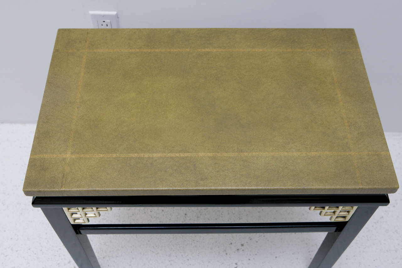 American Pair of Custom Leather Topped Side Tables For Sale