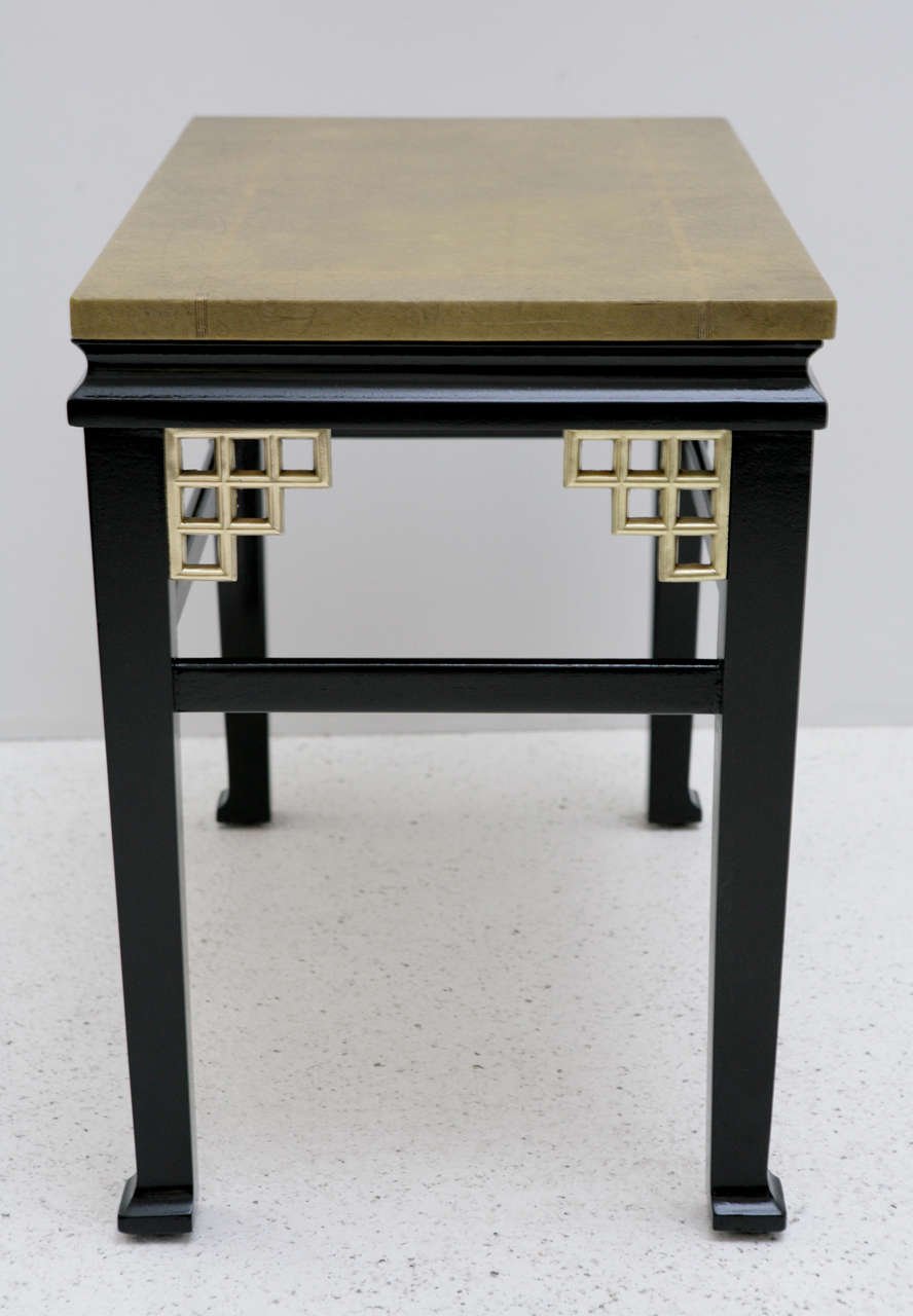 Pair of Custom Leather Topped Side Tables For Sale 1