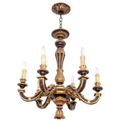 Baroque Style Ebonized and Gilt Wooden Chandelier