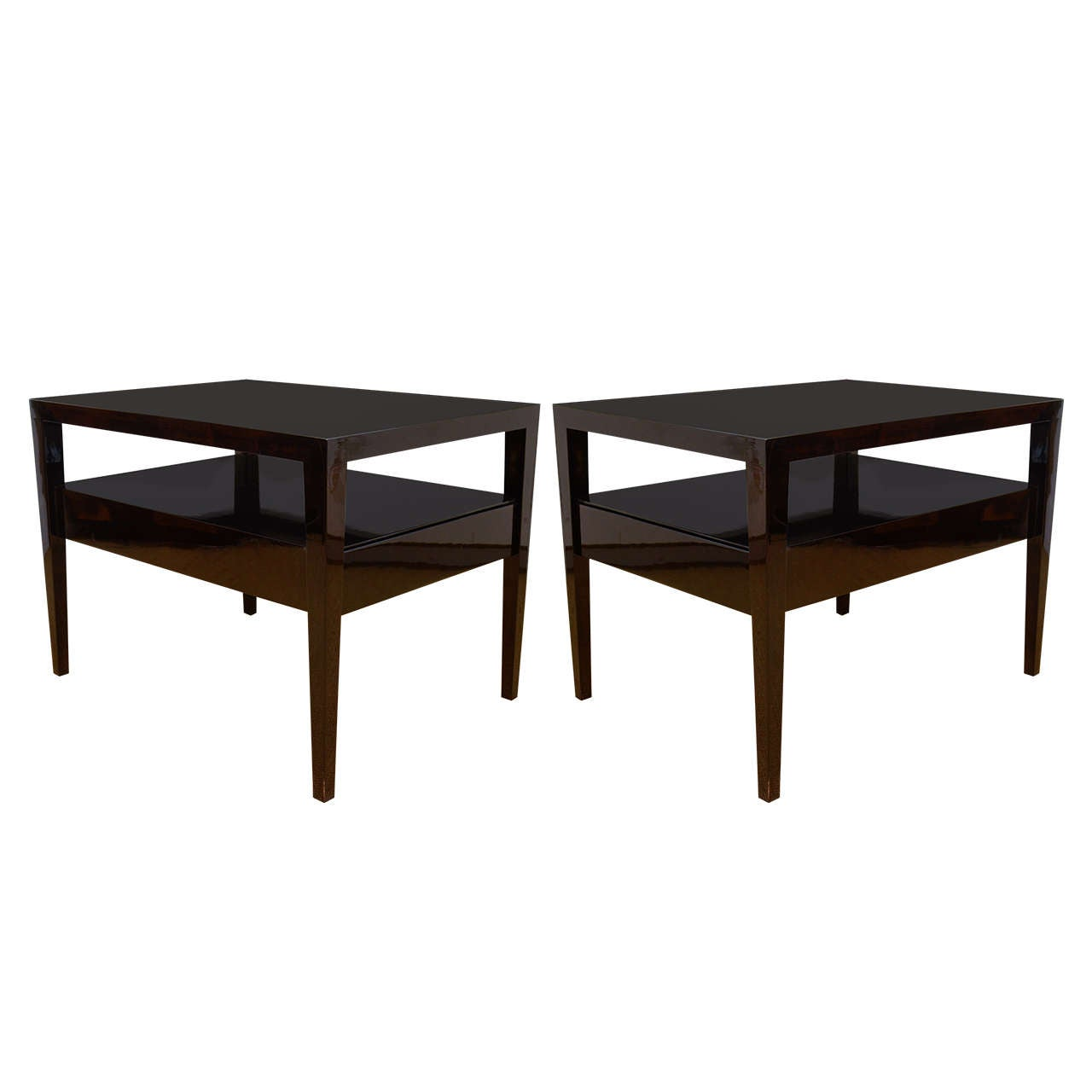 Pair Of Rectangular, Custom Made, Two Tier End Tables With A Drawer