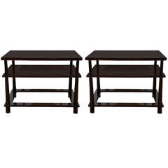Pair of Three-Tier Rectangular, Custom-Made End Tables