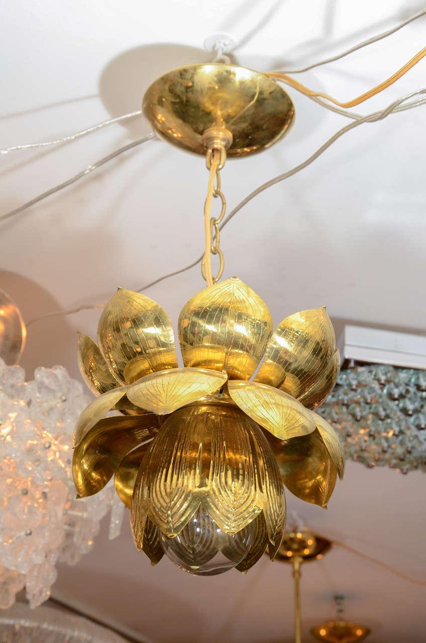 Small Brass Lotus Form Pendant Ceiling Fixtures By Feldman 2