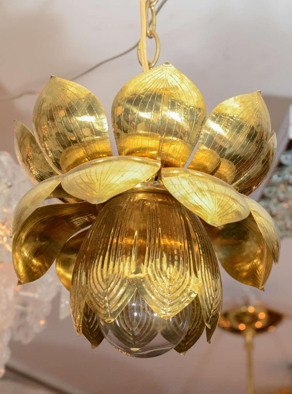 Small Brass Lotus Form Pendant Ceiling Fixtures By Feldman 4